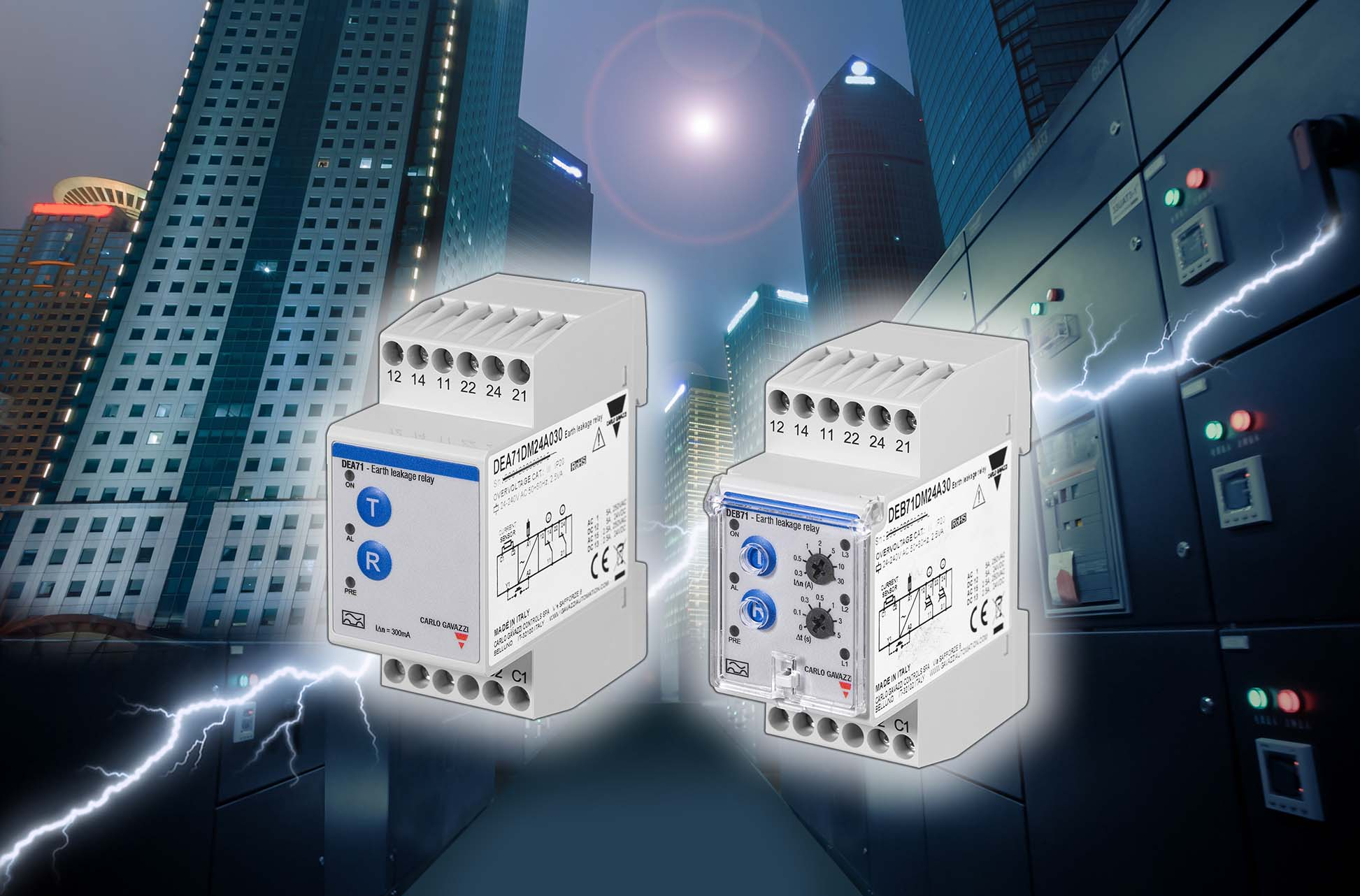 Earth Leakage Monitoring Relays Dea71 And Deb71 Power Changeover Relay Of Used To Detect Current Which Can Be Potentially Dangerous When Un Detected In Electrical Networks